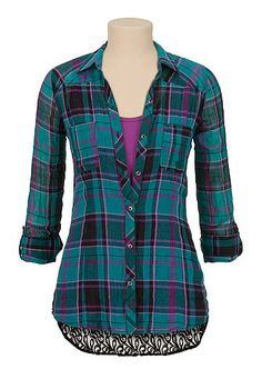 Chiffon back plaid button down shirt - maurices.com | Blusas ...
