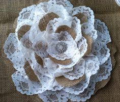 Wedding Decor Burlap Lace Flower Ivory or by LovelyLaceDesigns, $39.95