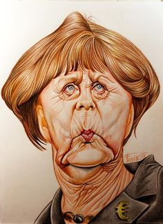 Caricature: Angela Merkel, pencils on paper, by Frank Funny Caricatures, Celebrity Caricatures, Famous Cartoons, Funny Cartoons, Film Icon, Caricature Drawing, Wtf Face, Political Satire, Character Drawing