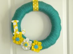 Bright and Colorful 14 inch Yarn Wreath with Initial