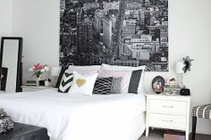 Black and white and pink interiors