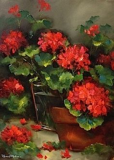 Vero Amore Red Geraniums and Recycled Flowers in the Studio - Flower Paintings by Nancy Medina, painting by artist Nancy Medina