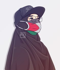 Hijabi Girl, Girl Hijab, Girl Cartoon, Cartoon Art, Flipagram, Palestine Art, Hijab Drawing, Islamic Cartoon, Hijab Cartoon