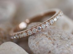 2mm full eternity diamond band - rose, white or yellow gold -made to order