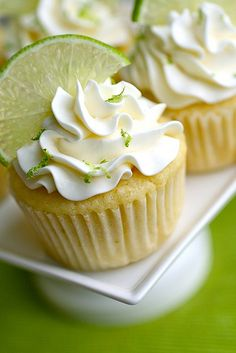Margarita Cupcakes: baked 7/16/2011. Fresh lime juice and zest gives great flavor!! Frosting is 8 egg whites with sugar, heated in double boiler then beat for 8 minutes - can be a bit tricky - but WELL worth it! Very light and refreshing frosting. Use a high end white tequila and fresh lime juice for best results.