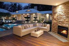 If this was my home Id never wanna leave! open-plan outdoor living rooms are being embraced living rooms are being embraced House Design, New Homes, Outdoor Rooms, Beautiful Homes, Backyard Furniture, House, Home, Outdoor Spaces, Outdoor Living Room
