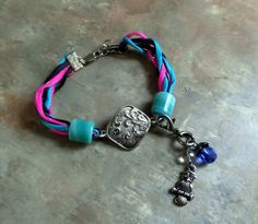 Silk Tangle Bracelet With Silver Leaf by WolfMountainJewelry, $15.00