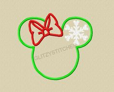 New 2013 Design - INSTANT DOWNLOAD - Miss Mouse Head Snowflake Ear Applique Embroidery Design 4x4 5x7 6x10 Beginner Friendly on Etsy, $3.75