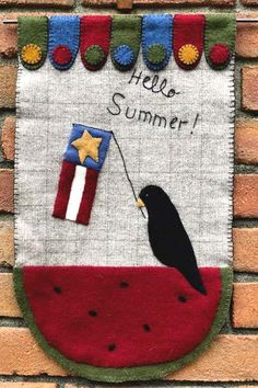 Christmas Tree Delivery, Ribbon Quilt, Sunflower Quilts, Summer Banner, Summer Patterns, Spring Blossom, Wool Applique, Hello Summer, Wool Felt