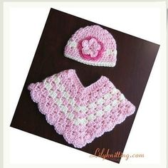 Crocheted Baby Poncho and matching Hat « Lilyknitting – Patterns and Crochet