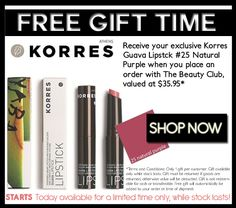 Free Korres Lipstick with all orders placed on thebeautyclub.com.au  Hurrah!