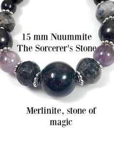 """Nuummite, Shungite, Auralite, Merlinite """"Magicians Night"""" Caution: High frequency, ancient stones use with great respect. Protection #1250"""