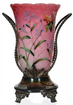 PINK SATIN DIAMOND QUILTED MOTHER-OF-PEARL ART GLASS CELERY VASE IN STAND ~ AURORA SILVERPLATE STAND WITH ROSE TWIST HANDLES ~ COLORFUL ENAMEL FLORAL DESIGN ON VASE