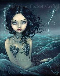 Sea Storm Mermaid gothic fairy ocean fantasy art print by Jasmine Becket-Griffith 8x10