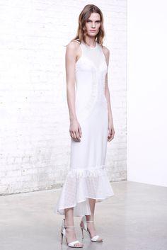 Jonathan Simkhai | Pre-Fall 2016 | 24 White sleeveless midi dress with mesh hem