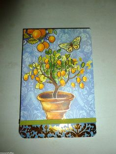 PUNCH STUDIO BLUE LEMON TREE BUTTERFLY LARGE FLIP GILDED DECORATIVE NOTE PAD #PUNCHSTUDIO