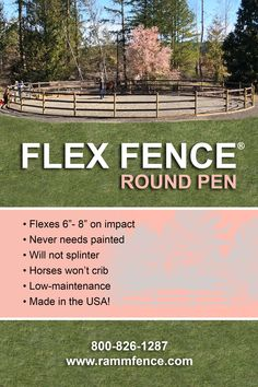 Instead of splintering or breaking on impact, Flex Fence® will flex up to six-eight inches and then return to its original shape. Flex Fence® is extremely strong, with the widest size having pounds of break strength per rail! Horse Paddock, Horse Stables, Horse Farms, Round Pens For Horses, Horse Round Pen, Horse Farm Layout, Horse Pens, Horse Shelter, Horse Barn Plans