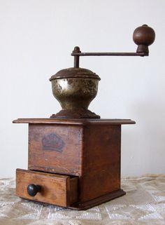 Vintage German coffee mill grinder wooden country decor B.C. Geschmiedeles Mahlwerk.
