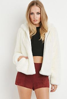 Zippered Faux Fur Hoodie - Shop All - 2000142619 - Forever 21 EU English