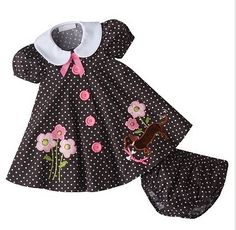 I don't even know what size it comes in, all I know is it is so cute and Audrey would look like a doll in it! blue and pink dot poodle Little Girl Outfits, Little Girl Dresses, Kids Outfits, Baby Dress Design, Frock Design, Girls Pageant Dresses, Toddler Girl Dresses, Baby Dresses, Prom Dresses