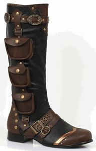 "121-AMOS, Men's 1"" Renaissance Steampunk Costume Knee Boots in Black/Brown"