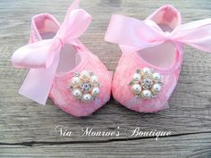 Couture Pink Lace Crib Shoes  Infant  Girls by NiaMonroesBoutique, $22.00 #Pink #Baby #Shoes