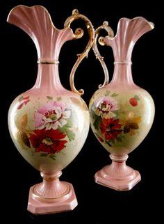 Victorian Pink Jar Vases