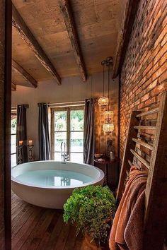 Luxury bathtub and gorgeous bathroom decor with exposed brick wall Luxury bathtub and gorgeous bathroom decor with exposed brick wall Related posts:Dies ist eines der süßesten Pullover-OutfitsWork on Best House Interior Design to Transfrom Your House