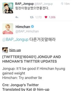 """""""Try another lie"""" lmfao I can't believe he even said that!  #bap #bapfunny #funnybap #himup #himchan #kimhimchan #jongup #moonjongup #kpop #babyz #kpopfunny #funnykpop"""