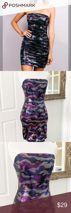 bc365382c43ca Strapless Camouflage Sequin Tube Dress Camouflage Sequin Strapless Tube  Dress. Gray Blue and Purple Sequin Dress. Black Back. Back zipper.
