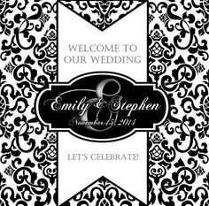 18 for 30 black and white monogram damask labels for wedding welcome bags welcomebags