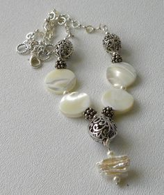 Handmade Beaded Mother of Pearl Necklace by bdzzledbeadedjewelry, $32.00