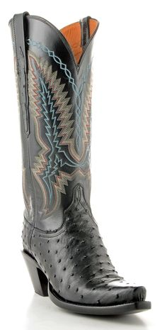 Womens Lucchese Ostrich Boots Black #Gc9112