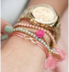 Gold/rosé arm candy, www.loavies.com.