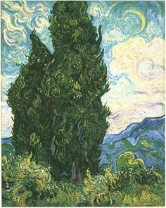 Cypresses Painting, Oil on Canvas Saint-Rémy, France: June, 1889 The Metropolitan Museum of Art New York, New York, United States of America, North America Van Gogh