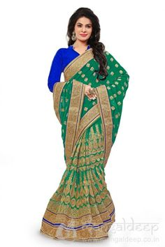 http://www.mangaldeep.co.in/sarees/mesmerizing-green-net-catonic-georgette-half-and-half-designer-saree-7396 For more details contact us : +919377222211 (whatsapp available)