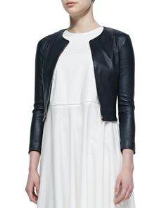 Stanta Leather Cropped Zip Jacket, Navy by THE ROW at Neiman Marcus.