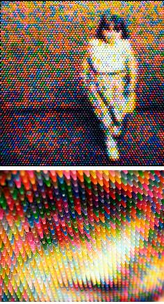 Art ::: image made of multicoloured crayons by Christian Faur
