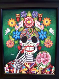This is a picture of the original art. Day of the Dead artwork by New Mexican Artist. Day Of The Dead Artwork, Day Of The Dead Skull, Sugar Scull, Sugar Skull Art, Mexican Artwork, Mexican Folk Art, Mexican Artists, Mexican Skulls, Art Plastique
