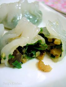 """Oh my painstaking 12 koo chai kueh aka chives dumpling >.<"""" It took me attempt to get the wrapper dough right! Chive Dumpling Recipe, Dumpling Filling, Appetizer Recipes, Appetizers, Asian Recipes, Ethnic Recipes, Chinese Recipes, Chicken Spring Rolls, Cantonese Food"""
