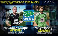 BELLINGHAM, WA---Brendan Quilici (offense) and Riley Liddle (defense) are the Western Indoor Soccer League (WISL) Players of the Week for January 2 matches as Bellingham United becomes the first cl...