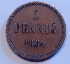 1865 Finland 5 Pennia Coin Old And New, Coins, Personalized Items, Unique Jewelry, Handmade Gifts, Stuff To Buy, Etsy, Stamps, Collections