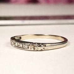 Excited to share this item from my shop: Art Deco Wedding Band / Antique White Gold Diamond Band - size wedding bands Your place to buy and sell all things handmade Pearl Wedding Bands, Cartier Wedding Bands, Antique Wedding Bands, Mens Diamond Wedding Bands, White Gold Wedding Bands, Wedding Band Sets, Wedding Art, Green Wedding, Wedding Rings