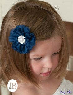"This 2-5-3"" chiffon flower adorned with little pearls and rhinestones on the center, on a ribbon-lined alligator hair clip. Available in many colors! These gorgeous little flowers will add the final touch to any outfit! SHOP hair accessories for little girls at http://thinkpinkbows.com/products/small-blossom-clippie 