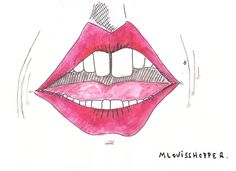 #illustration #draw #drawing #marker #watercolor #watercolour #gouache #mouth #kiss