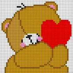 Teddy Love heart perler bead pattern