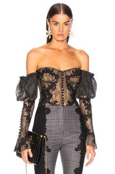 JONATHAN SIMKHAI Lingerie Lace Bustier Bodysuit in Black   Nude  5f296bb4b