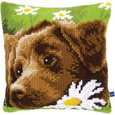 "Chocolate Labrador Cushion Cross Stitch Kit-15.75""""X15.75"""""