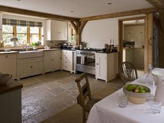 stone floors in cottage kitchen
