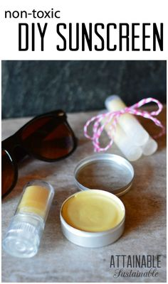 This non-toxic homemade sunscreen is easy to make and feels so much better going on than over the counter commercial sunscreens. Click through for the recipe!